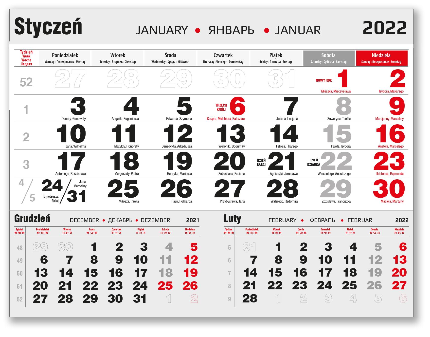 kalendarium jednodzielne czarne