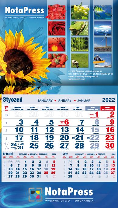 kalendarium jednodzielne granatowe